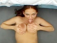 Beautiful jerk off encouragement with cum in the mouth