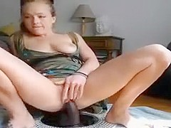 She loves to fuck her horny cunt with dildo and sits on it