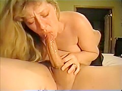 Blowjob loving babe takes big cock in her mouth and sucking it deep