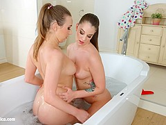 Bathtub babes by Sapphic Erotica   sensual lesbian scene with Angelina Brill Jessica Night