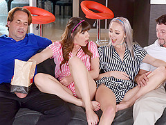 Alison Rey And Iris Rose in Movie Night Madness - DaughterSwap