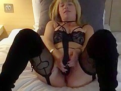 Milf playing with her wand vibrator having amazing orgasms