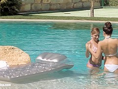 Billy and Jaquelin from Sapphic Erotica have lesbian sex in the pool
