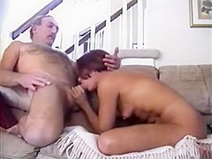 Brunette milf blows hard cock of her man and rides it madly