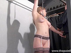 Teen ### Taylor Hearts nipple clamp punishment and pussy torments of beautiful submissive in hardcor