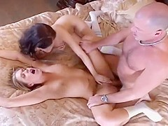 Two Horny Sluts Reamed By Hung Bald Stud