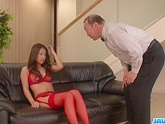 Group sex scenes along Satomi Suzuki, babe in red lingerie