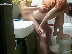chinese lovers making love in bathroom