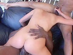 Horny pornstar Poppy Morgan in exotic interracial, facial adult movie