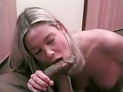 Blonde babe loves hard black cock in her mouth and sucking greedily
