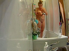 The blond angel-shower after a day at the beach in hd