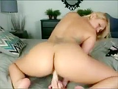Busty blonde babe with big boobs fingering and masturbating with dildo on webcam