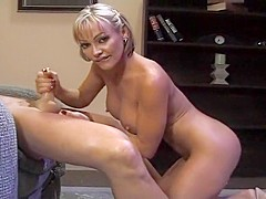 Busty Slut Houston Jerks Off A Fat Prick