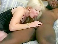 Sexy blonde babe with black dude gets her pussy drilled deep and enjoying