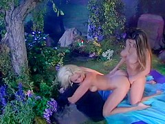 Hot Blonde Rides Brunette With Strap On