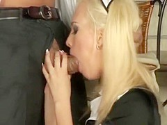 Horny Clumsy Waitress Blue Angel Gets Fucked