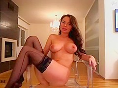 Sexy brunette slut with big boobs and tight pussy teasing on webcam
