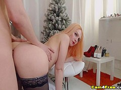 Gorgeous Blonde Babe Ride And Suck a Hard Cock