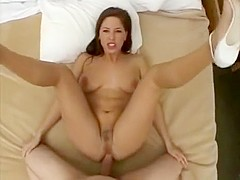 Sexy brunette at home gets her pussy drilled deep by horny cock after teasing with her hot tits