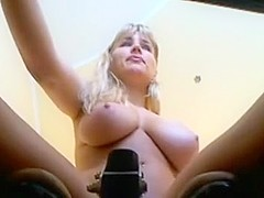 Sexy busty blonde babe with big boobs teasing on webcam