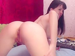 Crazy Amateur video with Brunette, Solo scenes
