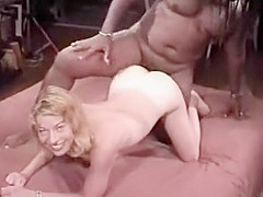 Mature blonde bitch gets her tight pussy drilled deep by black horny guy