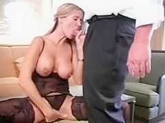 Busty blonde babe sucking hard cock and gets her tight pussy drilled