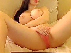 Busty brunette babe with big boobs teasing on webcam while fingering her tight pussy