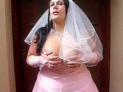 The Busty Bride - Dirty Wedding Blowjob Handjob - Cum on my Tits