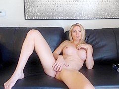 Blonde milf playing on cam for son s friends