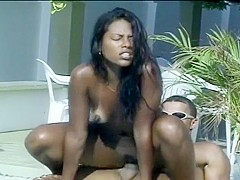 Black Brazilian Babe Fucking in the Pool