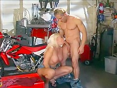 Blonde Cocksucker Chokes Down Two Dicks