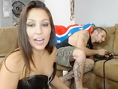 Sexy brunette gf takes hard big cock deep in her pussy while riding it