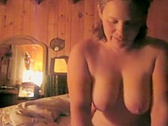 Busty blonde milf enjoys giving handjob to stiff dick in pov format