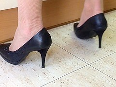 My wife in heels at the kitchen. Spy cam