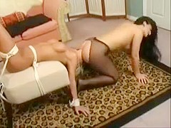 Brunette sits on the face of the blonde