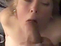 Cum thirsty blonde gets her mouth and face full of fresh thick cum