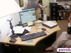 Business lady drilled by nasty pawn man