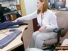 Busty business woman railed by pawn dude