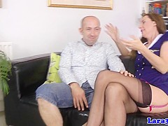 Mature classy stewardess gets mouth creamed