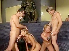 Horny pornstars Viktoria Blonde, Roxy Panther and Victoria Slim in hottest dp, group sex xxx video