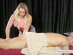 Blond sexy masseuse Cali gets a warm cum