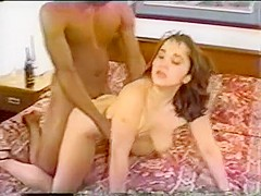 Horny brunette getting pussy fucked by black cock and sucks bbc of other guy