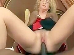 Blonde mature milf enjoying big black cock suck and fuck with horny black guy