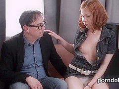 Innocent college girl is teased and penetrated by her elderly lecturer