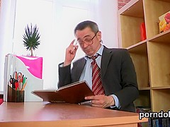 Erotic college girl is teased and banged by her older teacher