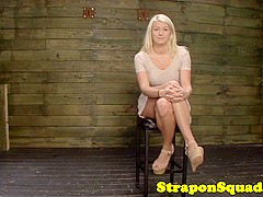 Strapon lezdoms have no mercy on submissive