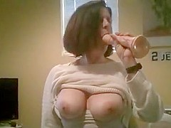 Big breasted lady imagines having a big cock
