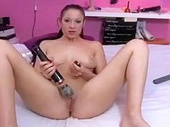 Sexy brunette slut on webcam teasing and dildo fucking her pussy