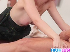 Two big dicks for schoolgirl Allora Ashlyn